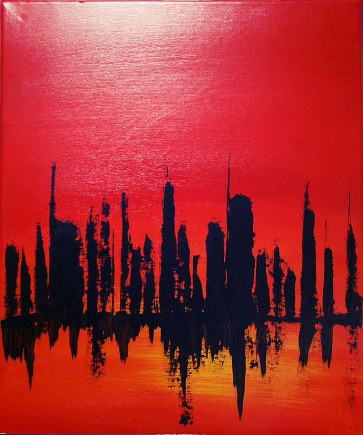 The silhouette of a city which burns in a landscape of reds, oranges and yellow. Although some may look at this abstract painting as a portrait of violence, it can also mean ignition of excitement - l