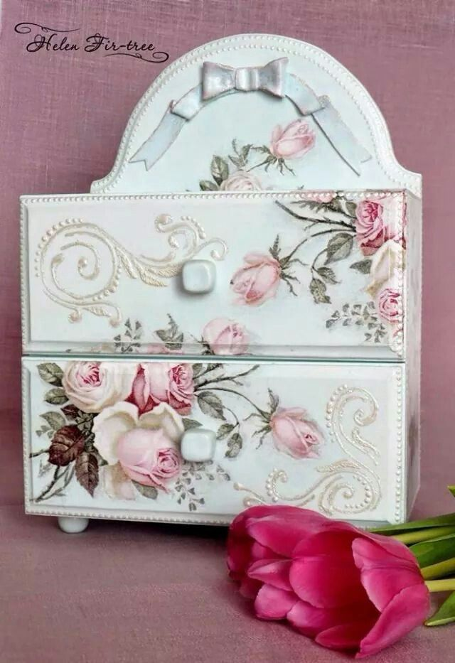Pretty with 2 little drawers - done in pink roses