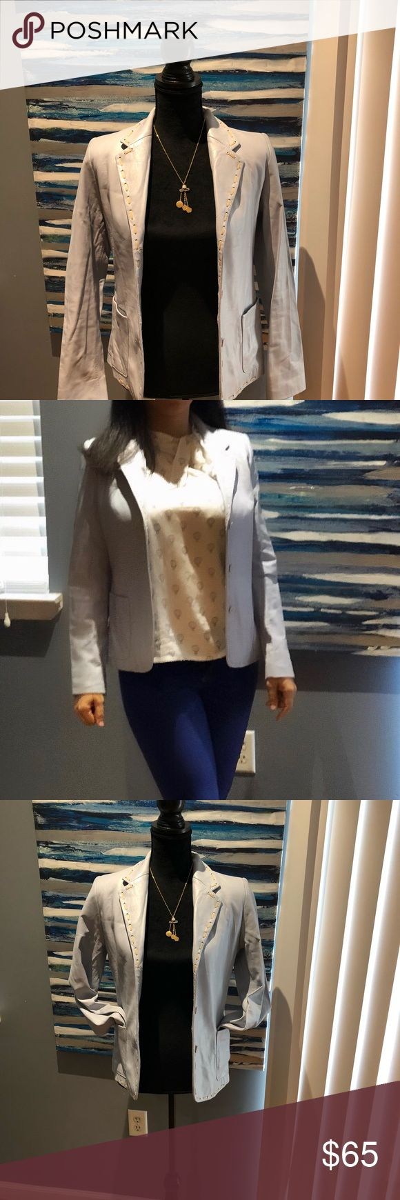 """Leather Jacket size 6 💯 % Leather Jacket by identify Brand New. Originally cost 350.00. Made in Canada 🇨🇦 this Jacket feature 3 front button 2 front pocket and lining inside. Soft leather light blue/grey. Sleeves measure 24"""" from the shoulder waist measure 15 1/2"""" and length from neck to bottom25"""". Very nice Jacket. Jackets & Coats"""