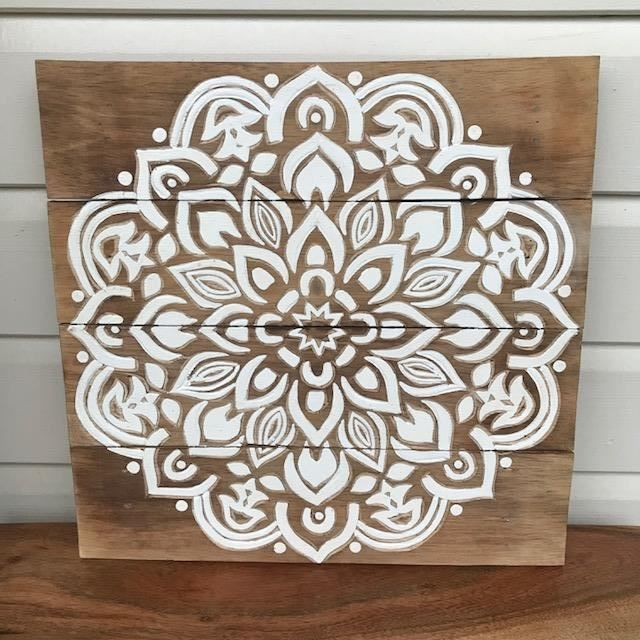 Handmade Carved Wood Timber White Mandala Boho Bohemian Moroccan