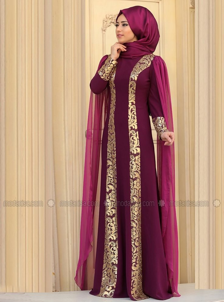 Rabia Evening Dress - Plum - Zehrace