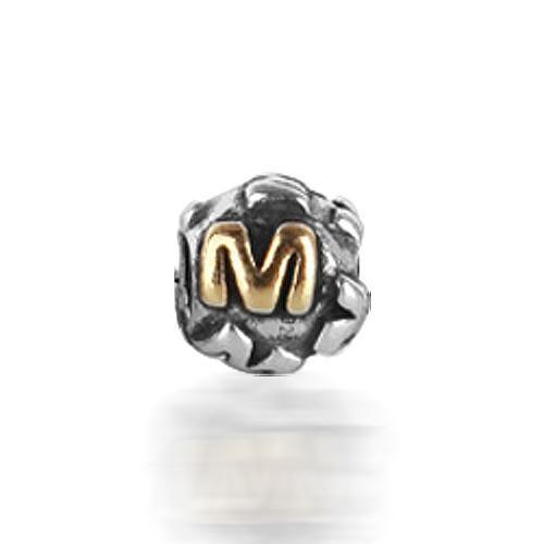 925 Silver Letter M Alphabet Bead Screw Core Chamilia Pandora Bead Style