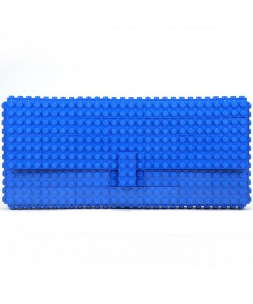 AGABAG statement clutch is handcrafted from blue LEGO bricks. It's perfectly sized to fit just the essentials.