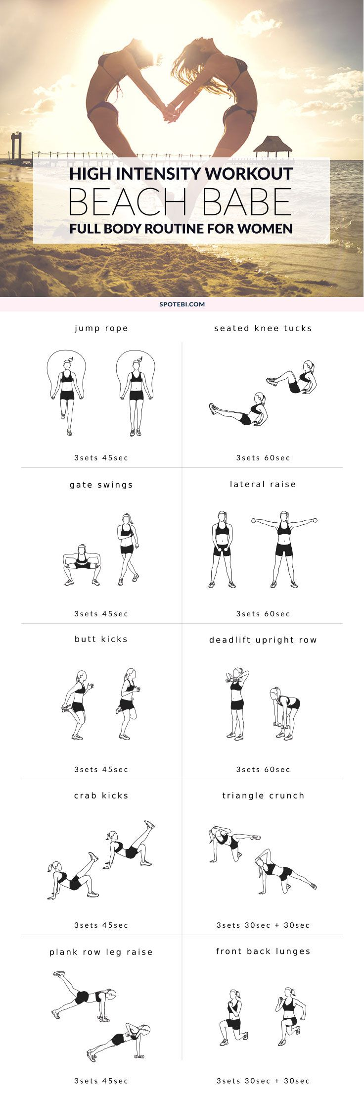 Train your entire body and boost your metabolism with this high-intensity workout for women. This circuit helps you build a healthier heart and kicks your body's repair cycle into high gear, helping you burn more calories during and up to 24 hours after the workout is over. https://www.spotebi.com/workout-routines/high-intensity-workout/