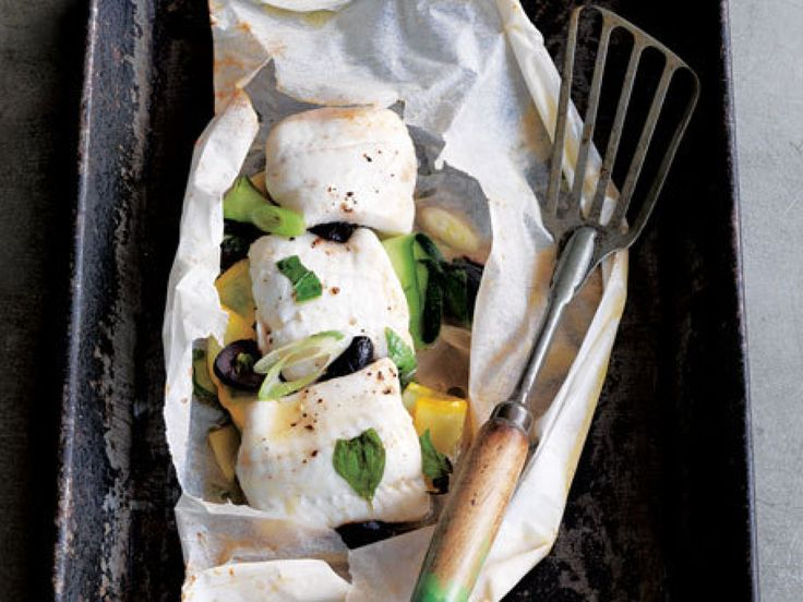 Sole In A Bag With Zucchini And Black Olives