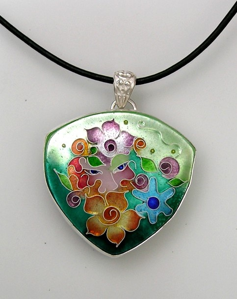 Enamel cloisonne and silver necklace with a fairy peaking out of the garden  $195.00