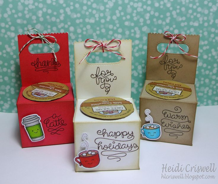 Lawn Fawn - Love You a Latte + coordinating dies, Goodie Bag Lawn Cuts die, Green Sparkle Lawn Trimmings, Peppermint Lawn Trimmings _ K cup holders gifts by Heidi via Flickr - Photo Sharing!