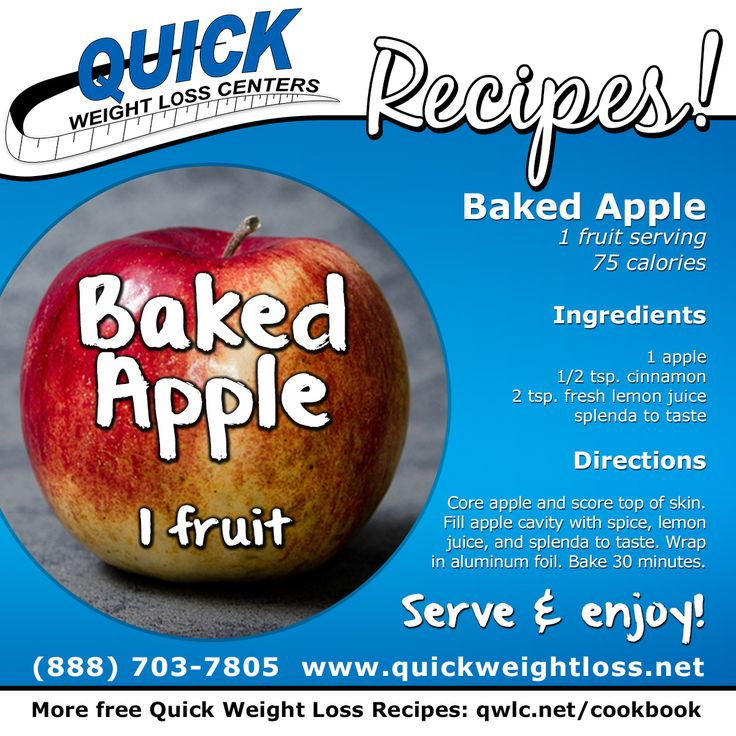 A delicious, healthy Quick Weight Loss dessert recipe: Baked Apple! Find more recipes at http://quickweightloss.net/recipes