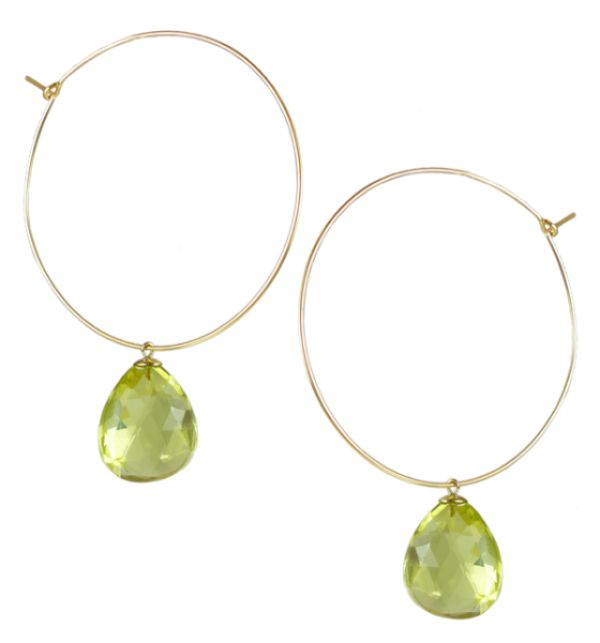 Lemon Quartz Hoop Earrings