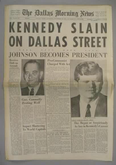 November 22, 1963: President John F. Kennedy is assassinated in Dallas, Texas.