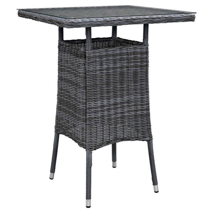 Summon Small Outdoor Patio Bar Table in Gray - Modway, Grey