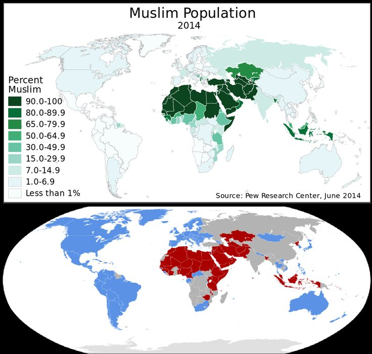 Map of Muslim population compared to map of countries which signed a statement opposing LGBT rights (in red)