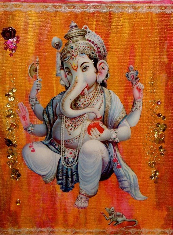 Sri Ganesha.  Blesser of new beginnings and Lord of Obstacles. I just love that part of the myth, how he removes obstacles but he also places the ones we need in order to grow.  It puts a positive spin on obstacles.  :)