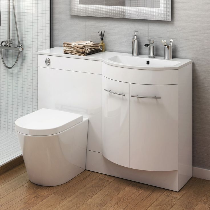 Details About Modern Bathroom Gloss White Vanity Unit Countertop Basin Back To Wall Toilet