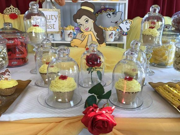 These Beauty and the Beast Cupcakes are gorgeous!! Love the idea of tooping them with a rose and placing them in a glass dome!! See more party ideas and share yours at CatchMyParty.com