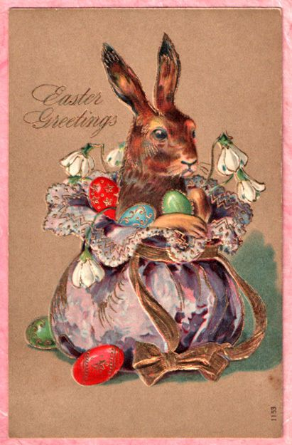 FANCY DRESSED EASTER BUNNY RABBIT Snowdrops GOLD EMBELLISHED 1909 VINT. POSTCARD