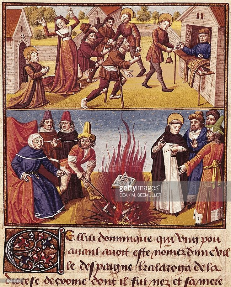 Saint Dominic burning the books of the Albigensians, miniature from Le Miroir Historial by Vincent of Beauvais, manuscript, France 15th Century.