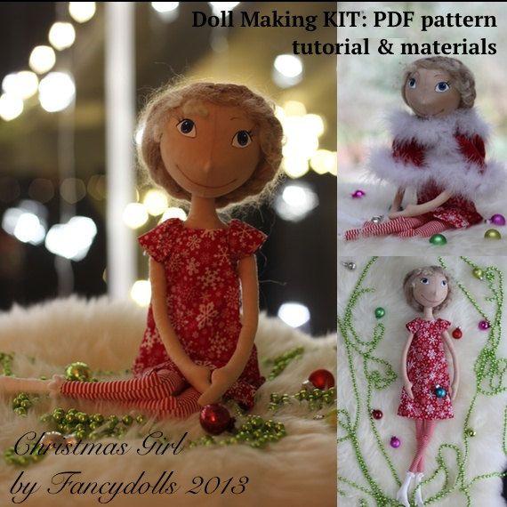 Doll Making Sewing Kit PATTERN TUTORIAL MATERIALS Christmas Girl diy