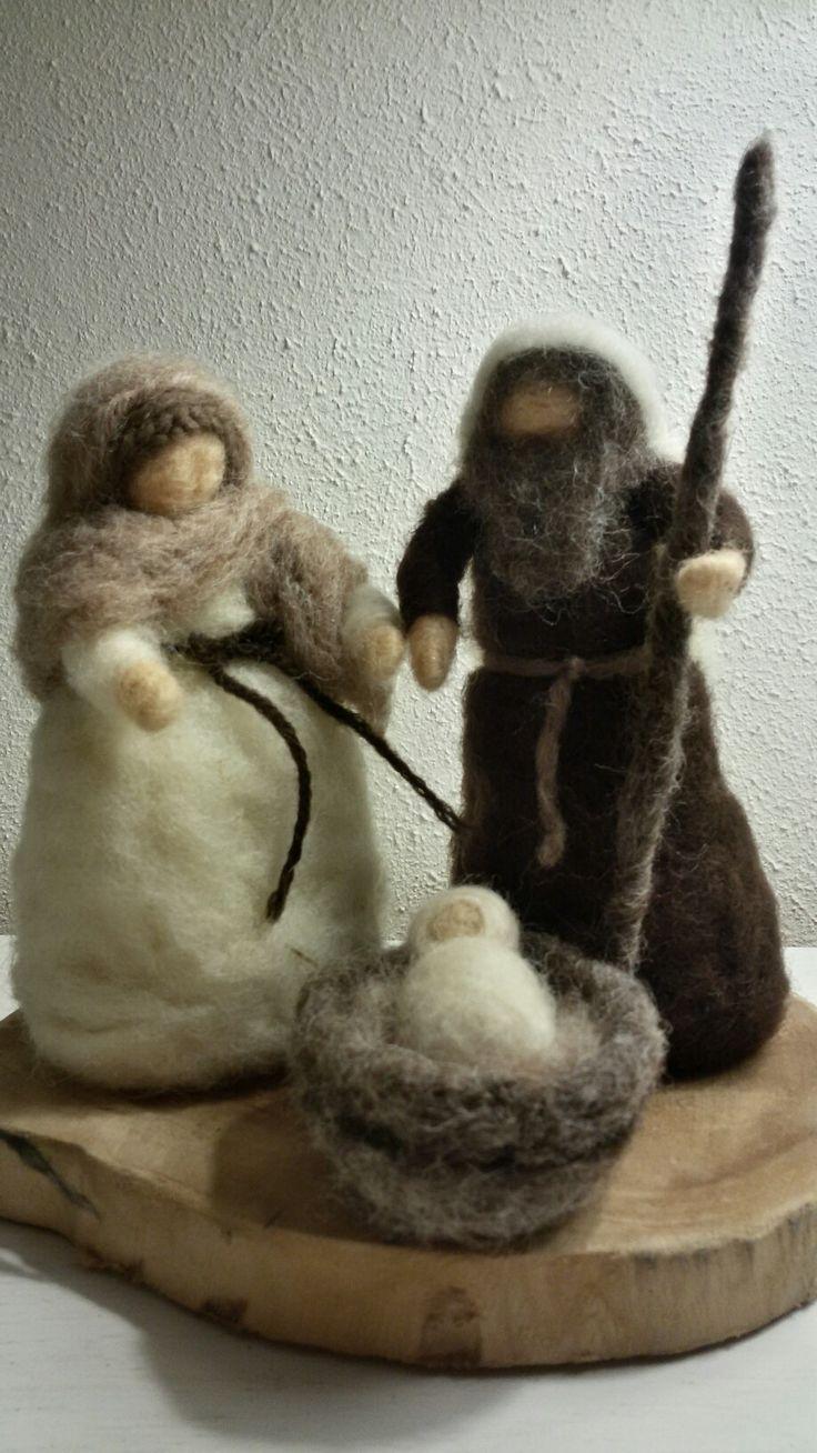 Needle felted waldorf nativity scene