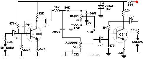 Control de tonos simple con transistores, agudos y graves