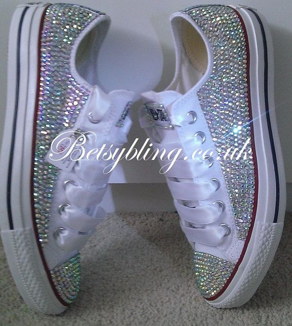 All Over Crystal Converse-Custom hand,made Crystal Converse all Colours available. Free UK Delivery