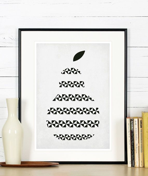 Fruit retro poster kitchen art apple pear wholesome by EmuDesigns