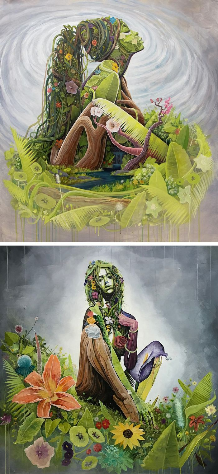 Surreal Portraits Celebrate Mother Earth With Women Made Out Of Nature Mother Earth Art Earth Drawings Earth Art