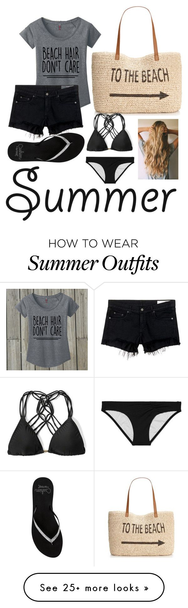 """""""Beach Outfit"""" by destanee-722 on Polyvore featuring Style & Co., rag & bone/JEAN, Reef, Victoria's Secret, Abercrombie & Fitch and strawbags"""