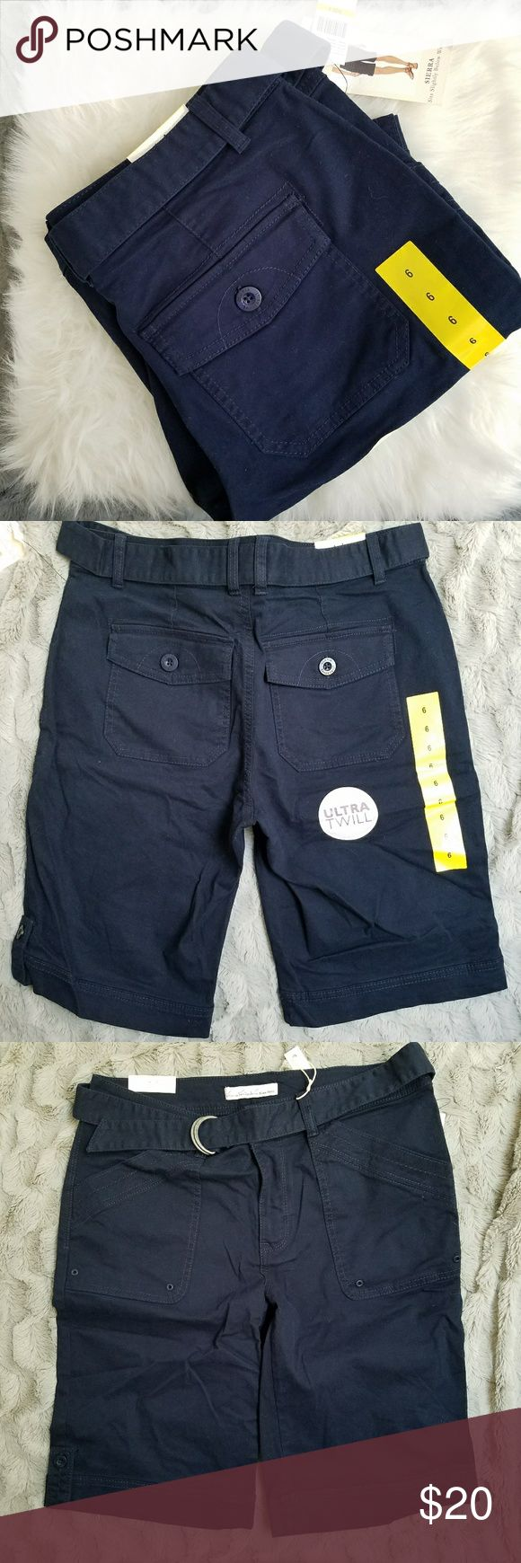 Gloria Vanderbilt Khaki Unltd Sierra Shorts Brand new with tags shorts by Gloria Vanderbilt Khaki unltd. Size 6 and sits slightly below the waist. Comes with a belt. Waist is 16 inches, rise is 9.5 inches and inseam is 11 inches. (A85) Gloria Vanderbilt Shorts