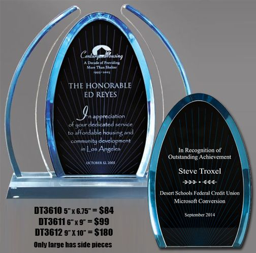 Elegant Award Trophy - Dynasty Arch Acrylic Award with Blue Tinted Lucite (DT3610) - Available in 3 sizes - Custom Engraving - Free Shipping