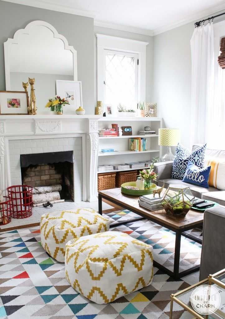 Playful colors and patterns make this living room both inviting and exciting!