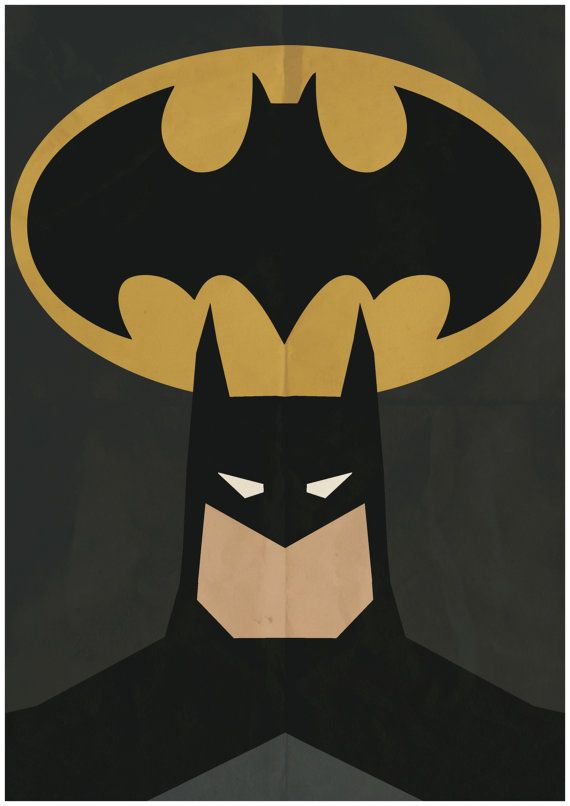 Batman - Minimalist Retro Poster, Movie Poster, Art Print    Poster Size: 11.7 inches X 16.5 inches    Printed on high quality, A3 220gm Textured