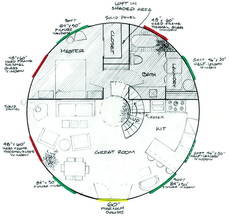 Yurt floor plan. the master would be Tk's and a 5' yurt can be attached to the living room exit to be the master.