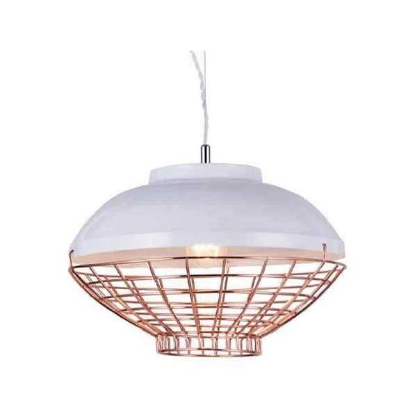 Kourtakis Lighting - Καμπάνα κρεμαστή με #μοντερνο #design κατασκευασμένη από μέταλλο σε λευκό χρώμα και ορειχάλκινο μεταλλικό πλέγμα στο κάτω μέρος. Βρείτε την σε δύο σχέδια και επιλέξτε τι ταιριάζει στον χώρο σας. Για περισσότερη οικονομία στην κατανάλωση ενέργειας και μεγαλύτερη διάρκεια ζωής προτείνουμε να επιλέξετε λαμπτήρες #LED: http://kourtakis-lighting.gr/35-lamptires-led-E27