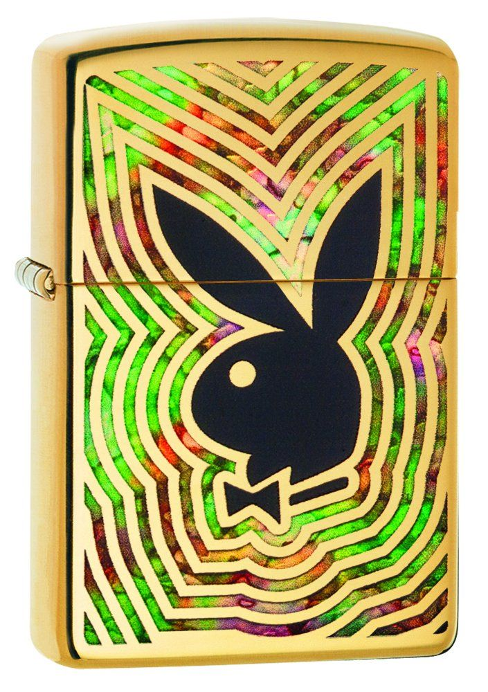 """Zippo Playboy Rabbit Head High Polish Brass Pocket Lighter. Genuine Zippo windproof lighter with distinctive Zippo """"click"""". All metal construction; windproof design works virtually anywhere. Refillable for a lifetime of use; for optimum performance, we recommend genuine Zippo premium lighter fluid, flints, and Wicks. Made in USA; lifetime guarantee that """"it works or we fix it free&#8482"""". Fuel: Zippo premium lighter fluid (sold separately)."""