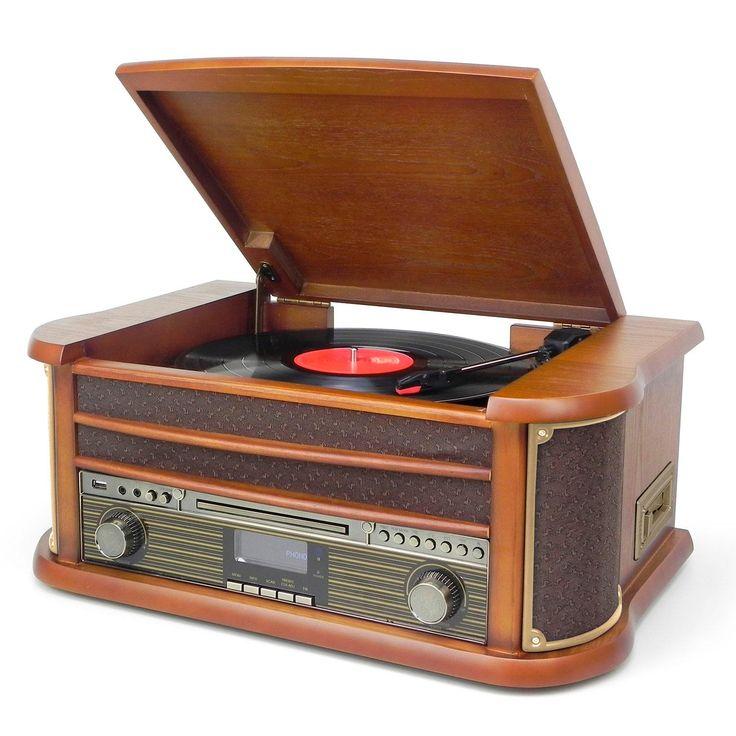 Musik-anläggning i retro-stil med Bluetooth®, MP3-CD, skivspelare,kassett-bandspelare, DAB +/FM-radio och inspelning till USB-sticka. - FM PLL-radio med förinställda stationer - DAB+ Digital Radio - CD / CD-R / CD-RW / MP3 - Skivspelare 33/45/78 rpm - Inspelning - spela in från skivspelare, kassett, radio, Bluetooth och CD direkt till USB-sticka. - Track Separation funktion - Kassett-bandspelare - LCD-skärm - Equalizer - USB-uttag - 3,5 mm AUX-In jack - Linjeutgå...