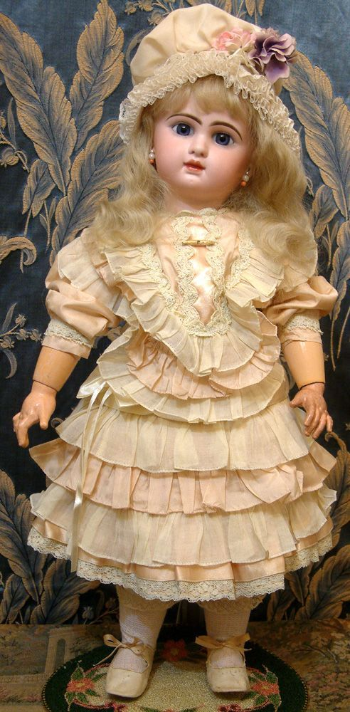 "Super Rare French 22"" P Jumeau Bebe Doll Wearing STUNNING Presentation Costume!"
