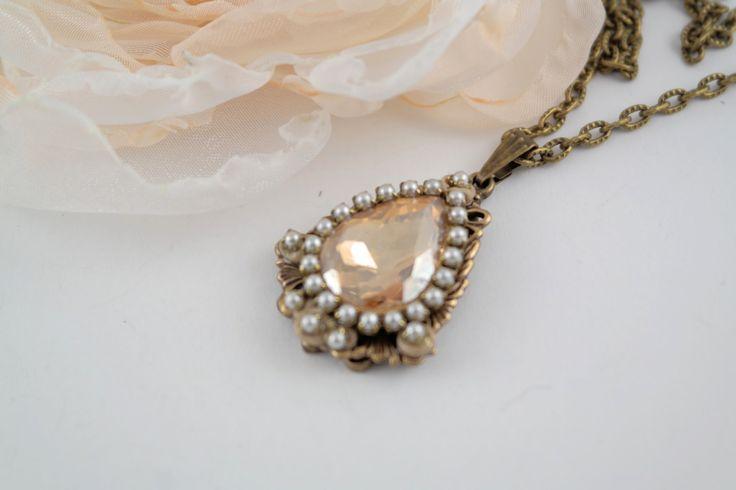 vintage beige pendant,swarovski drop pendant,drop pendant,vintage pendant,beige pendant,light brown pendant,victorian pendant,gift for her