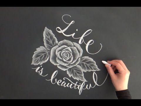 黒板アート、チョークアートで描くバラとレタリング(大人黒板chalkart)