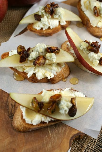 Authentic Suburban Gourmet: Pear and Honey Crostini with Spicy Candied Pistachios | Friday Night Bites