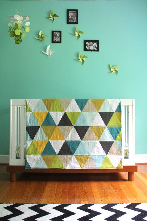 NEW mustard seeds triangle blanket great greens and blues modern quilt #popandlolli #pinparty