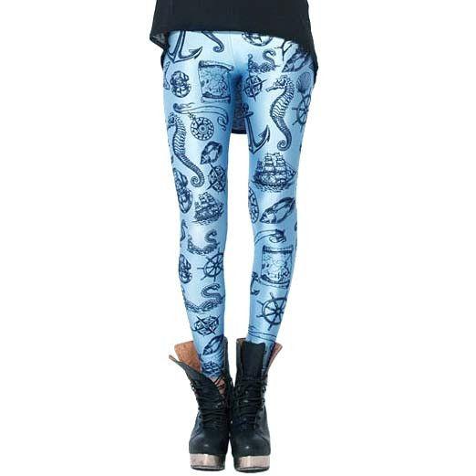 Nautical Themed Anchor Seahorse Sea Shells Digital Print Comfortable Stretch Leggings for Women in Blue
