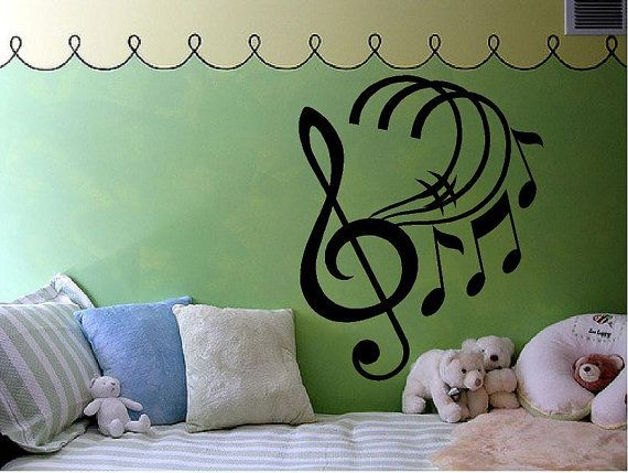 Music Notes  with Treble Clef  Vinyl wall by VinylDesignCreations