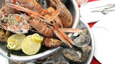 Plateau de fruits de mer met krab, oesters en garnalen