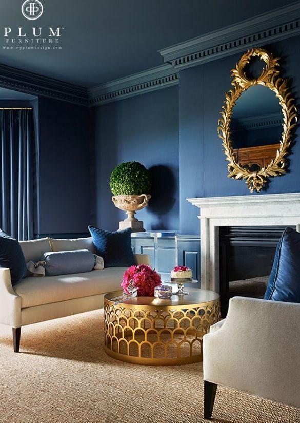 Blue walls & cream sofas / interior design & decor ideas