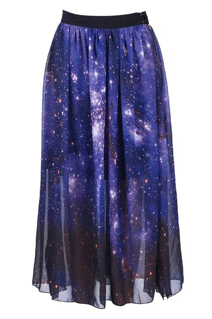 #romwe Galaxy Ziped Split Purple Skirt  $34.99