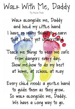 """Walk With Me, Daddy"" card for Father's Day. Footprints for both kids."