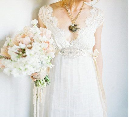 Claire Pettibone Inspired Lace Tulle Wedding Dress by Whitesrose, $348.00