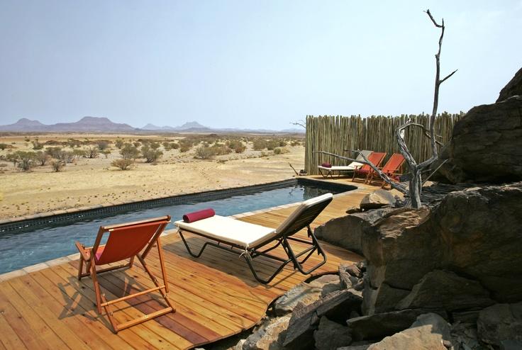 Endless vistas poolside at Doro Nawas Camp in Namibia