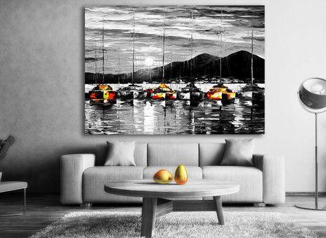 Night at Sea - Svart vit tavla med färg detaljer